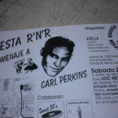 Catálogos de Música: FLYER CARL PERKINS ROCKABILLY. Lote 143914082