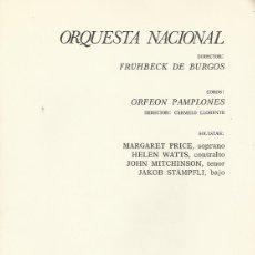 Catálogos de Música: PROGRAMA ORQUESTA NACIONAL. TEATRO REAL TEMPORADA 1969/70. FRÜHBECK DE BURGOS. ORFEÓN PAMPLONÉS. Lote 139707118