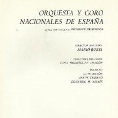 Catálogos de Música: PROGRAMA ORQUESTA NACIONAL TEATRO REAL TEMPORADA 1975/76 MARIO ROSSI LOLA RODRÍGUEZ ARAGÓN. Lote 145502974