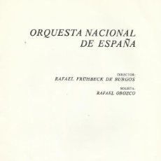Catálogos de Música: PROGRAMA ORQUESTA NACIONAL TEATRO REAL TEMPORADA 1977/78 FRÜHBECK DE BURGOS RAFAEL OROZCO.. Lote 145504566