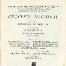 Catálogos de Música: PROGRAMA ORQUESTA NACIONAL TEATRO REAL TEMPORADA 1968. FRÜHBECK DE BURGOS. OSCAR GHIGLIA.. Lote 145597574