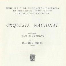 Catálogos de Música: PROGRAMA ORQUESTA NACIONAL TEATRO REAL TEMPORADA 1969. JEAN MARTINON, MAURICE ANDRÉ.. Lote 145599998