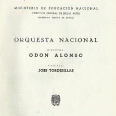Catálogos de Música: PROGRAMA ORQUESTA NACIONAL MÚSICA TEMPORADA 1959. MADRID. ODÓN ALONSO, JOSÉ TORDESILLAS.. Lote 145604914
