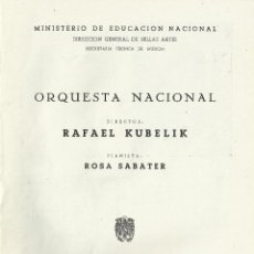 Catálogos de Música: PROGRAMA ORQUESTA NACIONAL MÚSICA TEMPORADA 1959. MADRID. RAFAEL KUBELIK, ROSA SABATER.. Lote 145605450