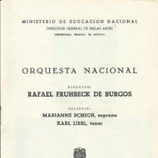 Catálogos de Música: PROGRAMA ORQUESTA NACIONAL MÚSICA TEMPORADA 1961. FRÜHBECK DE BURGOS, MARIANNE SCHECH, KARL LIEBL. Lote 145607830