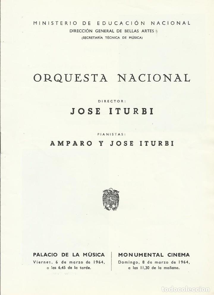 PROGRAMA ORQUESTA NACIONAL MÚSICA TEMPORADA 1964. JOSÉ ITURBI, AMPARO ITURBI. (Música - Catálogos de Música, Libros y Cancioneros)