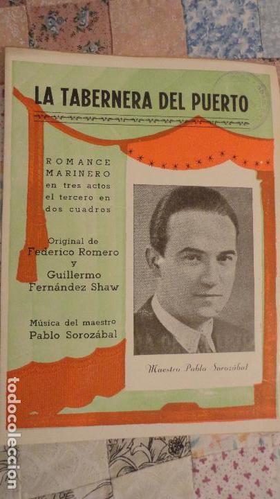 LA TABERNERA DE PUERTO.ROMANCE MARINERO.FEDERICO ROMERO.FERNANDEZ SHAW.PABLO SOLOZABAL (Música - Catálogos de Música, Libros y Cancioneros)