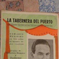 Catálogos de Música: LA TABERNERA DE PUERTO.ROMANCE MARINERO.FEDERICO ROMERO.FERNANDEZ SHAW.PABLO SOLOZABAL. Lote 147778462
