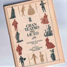 Catálogos de Música: 1956 PROGRAMA LICEO OPERA BORIS GODUNOV NICOLA ROSSI-LEMENI MILDRED ALLEN. Lote 151207802