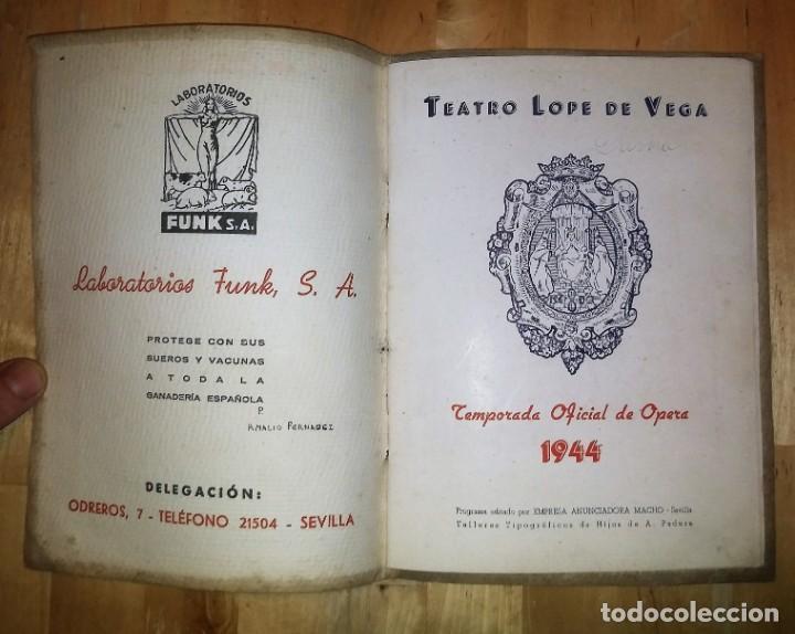 Catálogos de Música: 1944 Temporada de Opera. Sevilla. Publicidad de licores. Gonzales Byass Jerez (ver fotos) - Foto 9 - 157967718