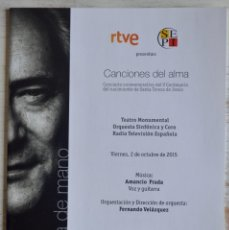 Catálogos de Música: AMANCIO PRADA CONCIERTO CONMEMORATIVO DEL V CENTENARIO DEL NACIMIENTO DE SANTA TERESA DE JESÚS. RTVE. Lote 160003682