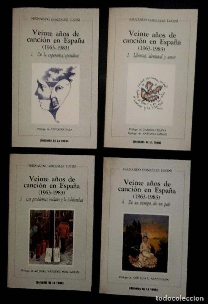 VEINTE AÑOS DE CANCIÓN EN ESPAÑA (1963 - 1983) - F. GONZÁLEZ LUCINI - CAJA CON LOS 4 TOMOS (Música - Catálogos de Música, Libros y Cancioneros)
