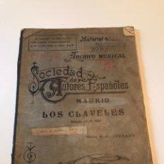Catálogos de Música: ANTIGUA PARTITURA SOCIEDAD DE AUTORES ESPAÑOLES - LOS CLAVELES - AÑO 1929 PRIMERA EDICIÓN. Lote 166866206