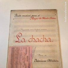 Catálogos de Música: ANTIGUA PARTITURA - LA CHACHA - FONDO MUSICAL PARA EL PARQUE DE MARIA LUISA. Lote 166875726
