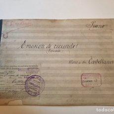 Catálogos de Música: ANTIGUA PARTITURA - EMISIÓN DE RECUERDOS (PASO DOBLE) - MÚSICA DE CASTELLANOS. Lote 166883050