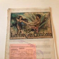 Catálogos de Música: ANTIGUA PARTITURA - DANZA LA NEGRA BAMBARA. Lote 166887925