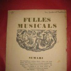 Catálogos de Música: FULLES MUSICALS REVISTA DE L`ASSOCIACIO DE MUSICA DA CAMERA CURS I Nº 4 BARCELONA 15 GENER 1928 -. Lote 168422004
