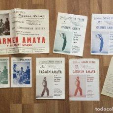 Catálogos de Música: LOTE CARMEN AMAYA - PROGRAMA ACTUACIONES JARDINES CASINO PRADO SITGES 1961. Lote 168818208