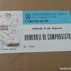 Catálogos de Música: ENTRADA HOMENAJE AL COMPARSISTA - CARNAVAL DE CADIZ 1989. Lote 170215844
