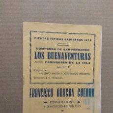 Catálogos de Música: LIBRETO CARNAVAL DE CADIZ 1975 COMPARSA LOS BUENAVENTURAS. Lote 172307197