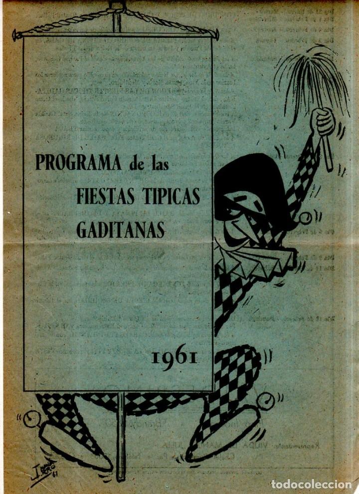 FOLLETO DE CARNAVAL. FIESTAS TIPICAS GADITANA. 1961. VER FOTOS. (Música - Catálogos de Música, Libros y Cancioneros)