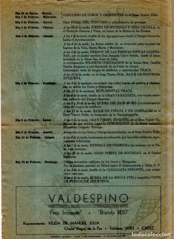 Catálogos de Música: FOLLETO DE CARNAVAL. FIESTAS TIPICAS GADITANA. 1961. VER FOTOS. - Foto 2 - 172688858