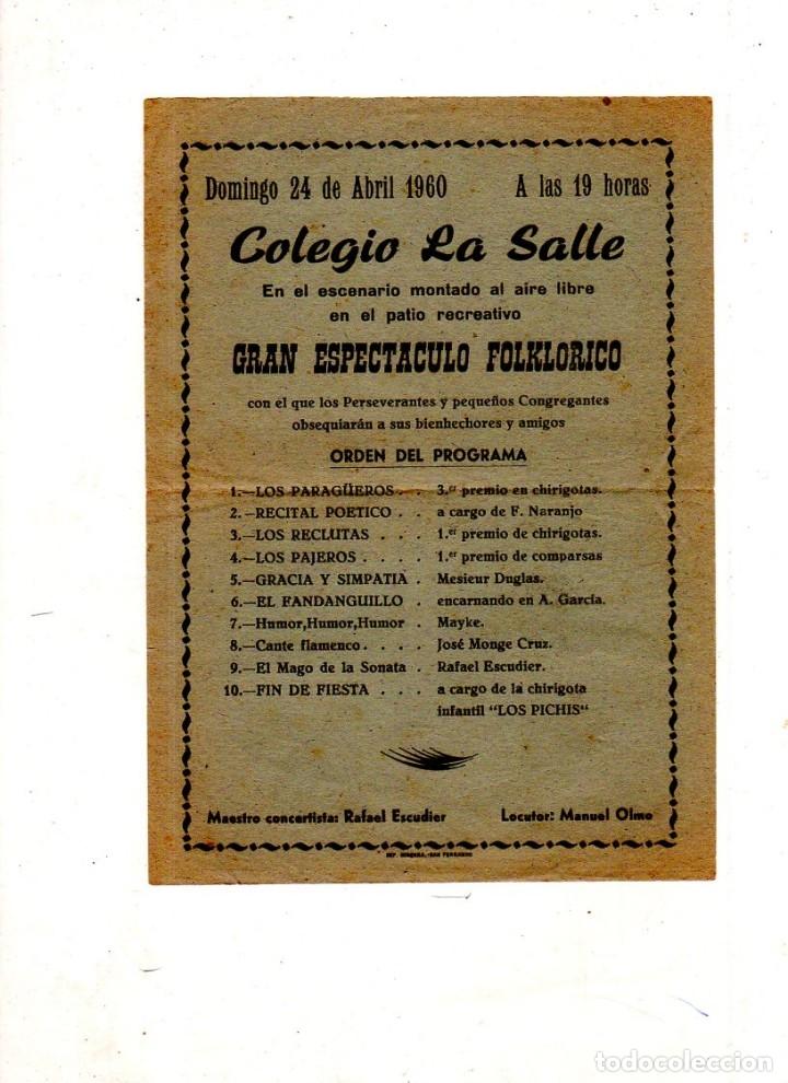 PROGRAMA DE GRAN ESPECTACULO FOLKLORICO. COLEGIO LA SALLE. 1960. (Música - Catálogos de Música, Libros y Cancioneros)