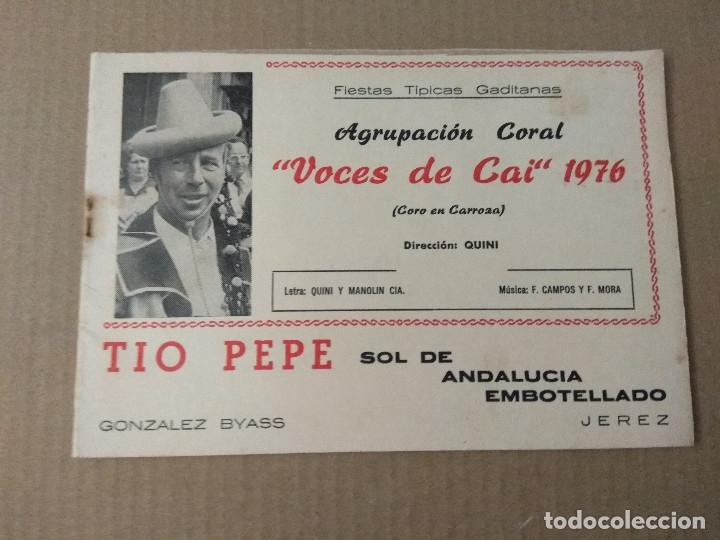 LIBRETO CARNAVAL DE CADIZ 1976 CORO EN CARROZA VOCES DE CAI (Música - Catálogos de Música, Libros y Cancioneros)
