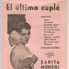 Catálogos de Música: CANCIONERO EL ÚLTIMO CUPLÉ SARITA MONTIEL . Lote 174394402