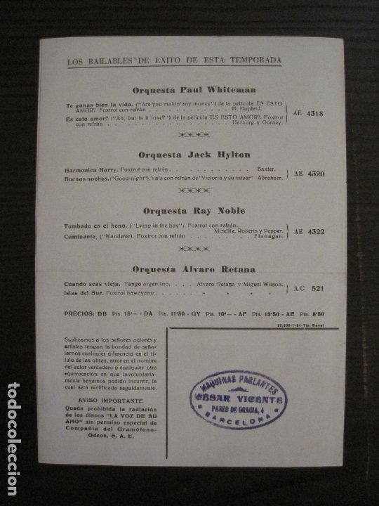Catálogos de Música: EL ORO DEL RHIN-ORQUESTA DE FILADELFIA-CATALOGO MUSICA LA VOZ DE SU AMO-ENERO 1934-VER FOTOS-V-17592 - Foto 3 - 176575160