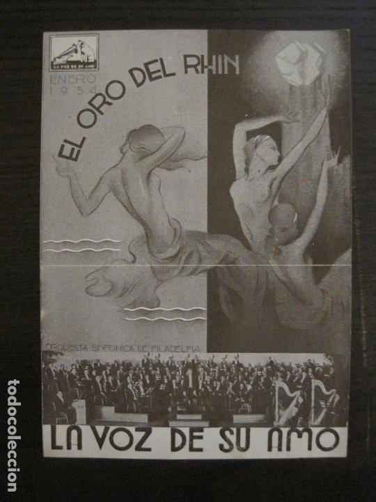 EL ORO DEL RHIN-ORQUESTA DE FILADELFIA-CATALOGO MUSICA LA VOZ DE SU AMO-ENERO 1934-VER FOTOS-V-17592 (Música - Catálogos de Música, Libros y Cancioneros)