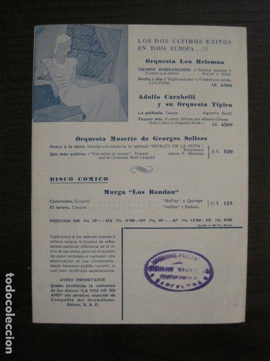Catálogos de Música: BOLICHE-CATALOGO MUSICA LA VOZ DE SU AMO-NOVIEMBRE 1933-VER FOTOS-(V-17.594) - Foto 4 - 176575438