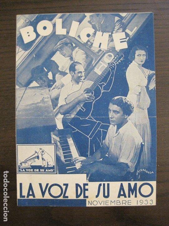 BOLICHE-CATALOGO MUSICA LA VOZ DE SU AMO-NOVIEMBRE 1933-VER FOTOS-(V-17.594) (Música - Catálogos de Música, Libros y Cancioneros)