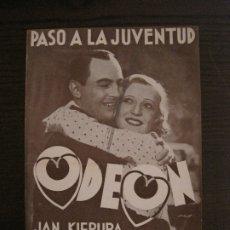 Catálogos de Música: KIEPURA & EGGERTH-PASO A LA JUVENTUD-CATALOGO MUSICA ODEON-OCTUBRE 1934-VER FOTOS-(V-17.596). Lote 176575959