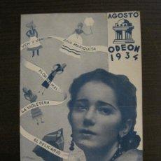 Catálogos de Música: CREACIONES DE RAQUEL MELLER-CATALOGO MUSICA ODEON-AGOSTO 1934-VER FOTOS-(V-17.597). Lote 176576100