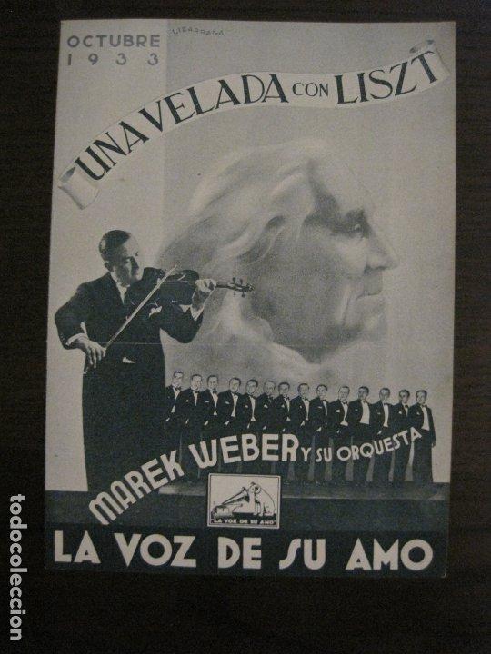 MAREK WEBER-VELADA CON LISZT-CATALOGO MUSICA LA VOZ DE SU AMO-OCTUBRE 1933-VER FOTOS-(V-17.599) (Música - Catálogos de Música, Libros y Cancioneros)
