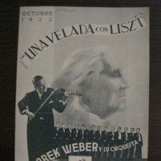 Catálogos de Música: MAREK WEBER-VELADA CON LISZT-CATALOGO MUSICA LA VOZ DE SU AMO-OCTUBRE 1933-VER FOTOS-(V-17.599). Lote 176576325