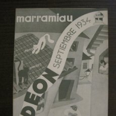 Catálogos de Música: MARRAMIAU-EL AFILADOR-CATALOGO MUSICA ODEON-SEPTIEMBRE 1934-VER FOTOS-(V-17.602). Lote 176576638