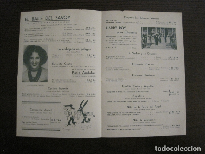 Catálogos de Música: BAILE DEL SAVOY-CELIA GAMEZ & PIERRE CLAREL-CATALOGO MUSICA ODEON-ABRIL 1934-VER FOTOS-(V-17.603) - Foto 2 - 176576774