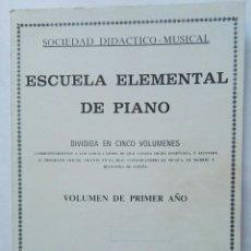 Catálogos de Música: ESCUELA ELEMENTAL DE PIANO. Lote 177434775