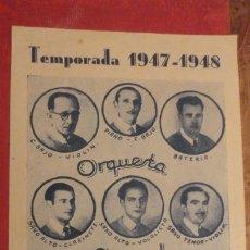 Catálogos de Música: ORQUESTA AZUL.CANET DE MAR.TEMPORADA 1947-1948. Lote 187223152