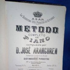 Catálogos de Música: MÉTODO DE PIANO. JOSÉ ARANGUREN. Lote 187516217