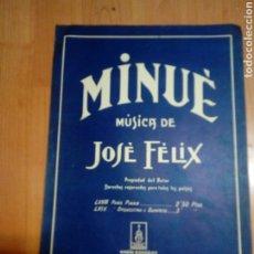 Catálogos de Música: PARTITURA MÚSICA - DIPTICA - MINUÈ D JOSÉ FELIX EDT MAGÍN GONZALEZ DE BARNA DEDIDA A MIRET MANRESA. Lote 191799852