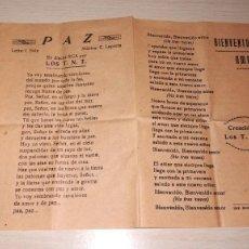 Catálogos de Música: CANCIONERO BIENVENIDO AMOR,UNO DE TANTOS, FANNY Y PAZ.CREACIONES LOS T.N.T., LEO DAN, IMP.RODAS, AÑO. Lote 194297175