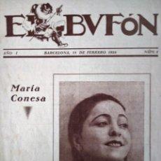 Catálogos de Música: EL BUFÓN REVISTA DE PARTITURAS MUSICALES N 1 AÑO 1 1924 MARIA CONESA . Lote 194399988