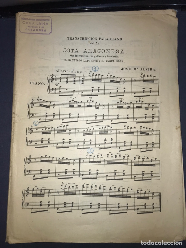 Catálogos de Música: Recopilación Lapuente-Sola. Cancionero de Alvira.. JOTA ARAGONESA. - Foto 2 - 194501966