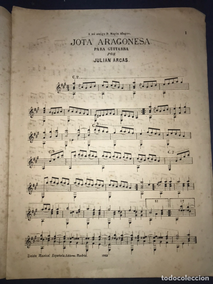 Catálogos de Música: JULIAN ARCAS. JOTA ARAGONESA PARA GUITARRA. - Foto 2 - 194503456