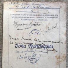 Catálogos de Música: DOÑA FRANCISQUITA - TEATRO PEREDA - SANTANDER - A BENEFICIO COMBATIENTES DE LA DIVISIÓN AZUL -MUSICA. Lote 194594298