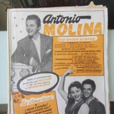 Catálogos de Música: CANCIONERO ANTONIO MOLINA HECHIZO Y EL PESCADOR DE COPLAS ED. BISTAGNE. Lote 194928355