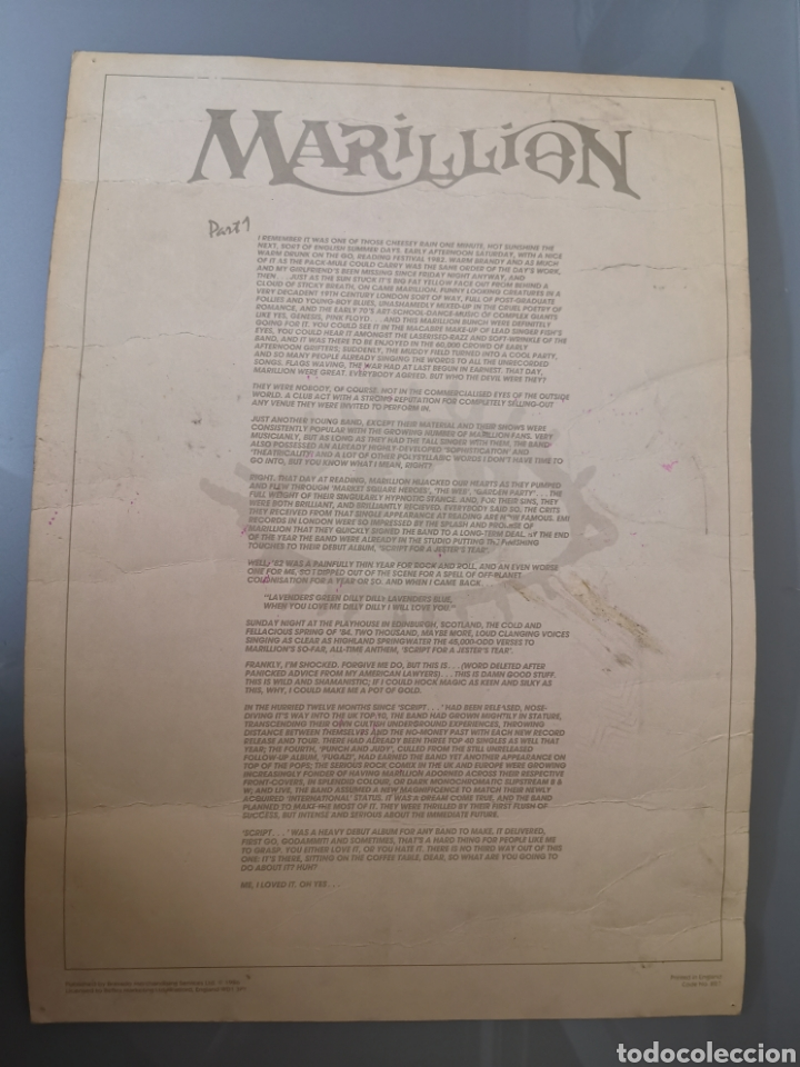 Catálogos de Música: GRAN LÁMINA PÓSTER CARTONÉ MARILLION SCRIPT FOR A JESTERS TEAR 42X30CM 1986 OFICIAL - Foto 2 - 195358443